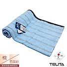 TELITA 粉彩竹炭條紋浴巾/海灘巾-水藍