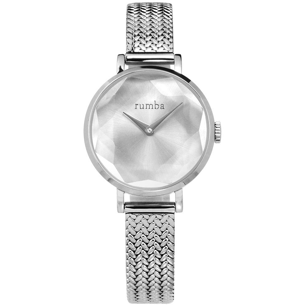 rumba time 紐約品牌 切割玻璃鏡面 米蘭編織不鏽鋼手錶-銀色/26mm