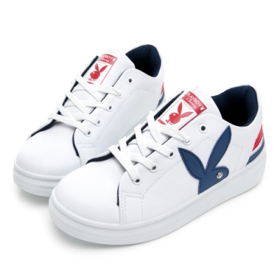 PLAYBOY 後跟潮流線條厚底休閒鞋-白藍-Y57091F