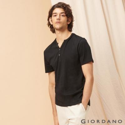 GIORDANO 男裝簡約素色亨利領短袖T恤-03 標誌黑