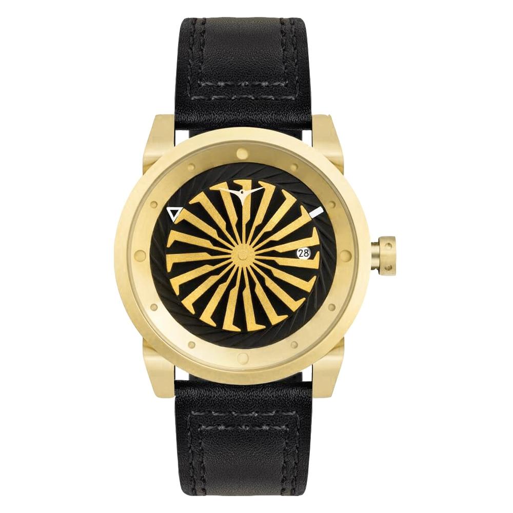 ZINVO 時尚皮革渦輪機械腕錶-黑X金(B12K)/44mm