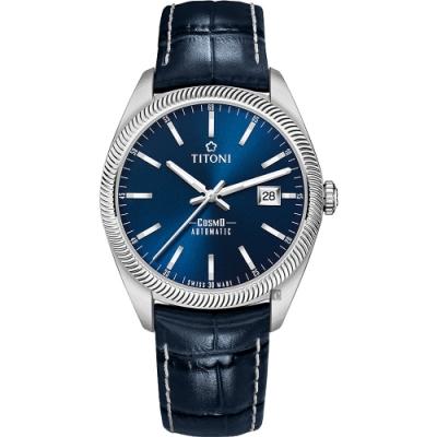 TITONI 梅花錶 宇宙系列經典復刻機械錶(878 S-ST-612)-藍x41mm