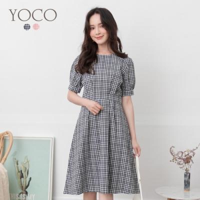 東京著衣-YOCO 氣質百搭格紋澎袖洋裝-S.M.L(共二色)