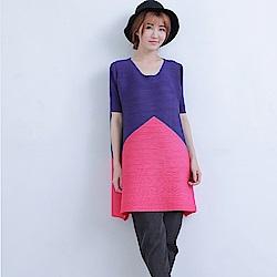 M@F摺衣 撞色幾何壓摺上衣-紫