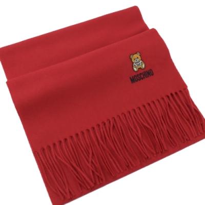 MOSCHINO 刺繡小熊圖樣羊毛圍巾(紅)