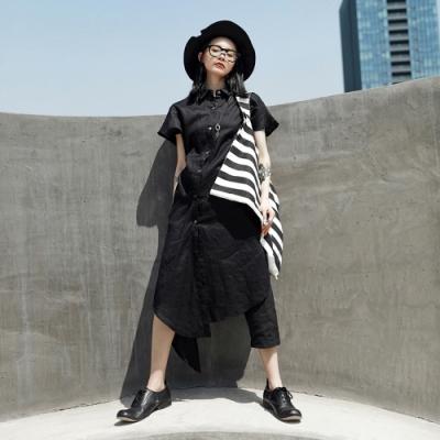 設計所在Style-中性夏季麻料不規則短袖洋裝