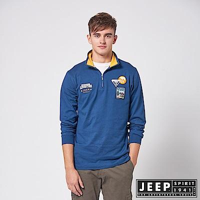 JEEP 探險世界拉鍊立領長袖POLO衫 -海洋藍