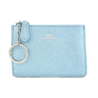 COACH 馬車珠光防刮皮革後卡夾鑰匙零錢包(珠光水藍)(展示品)