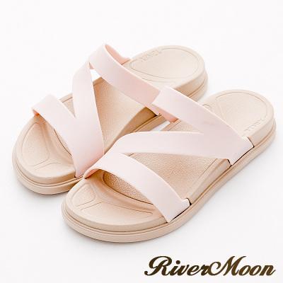 River&Moon拖鞋-Q軟輕量防水羅馬休閒拖鞋-淡粉