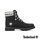 Timberland 女款黑色磨砂革LOGO鞋領經典6吋靴 A2314