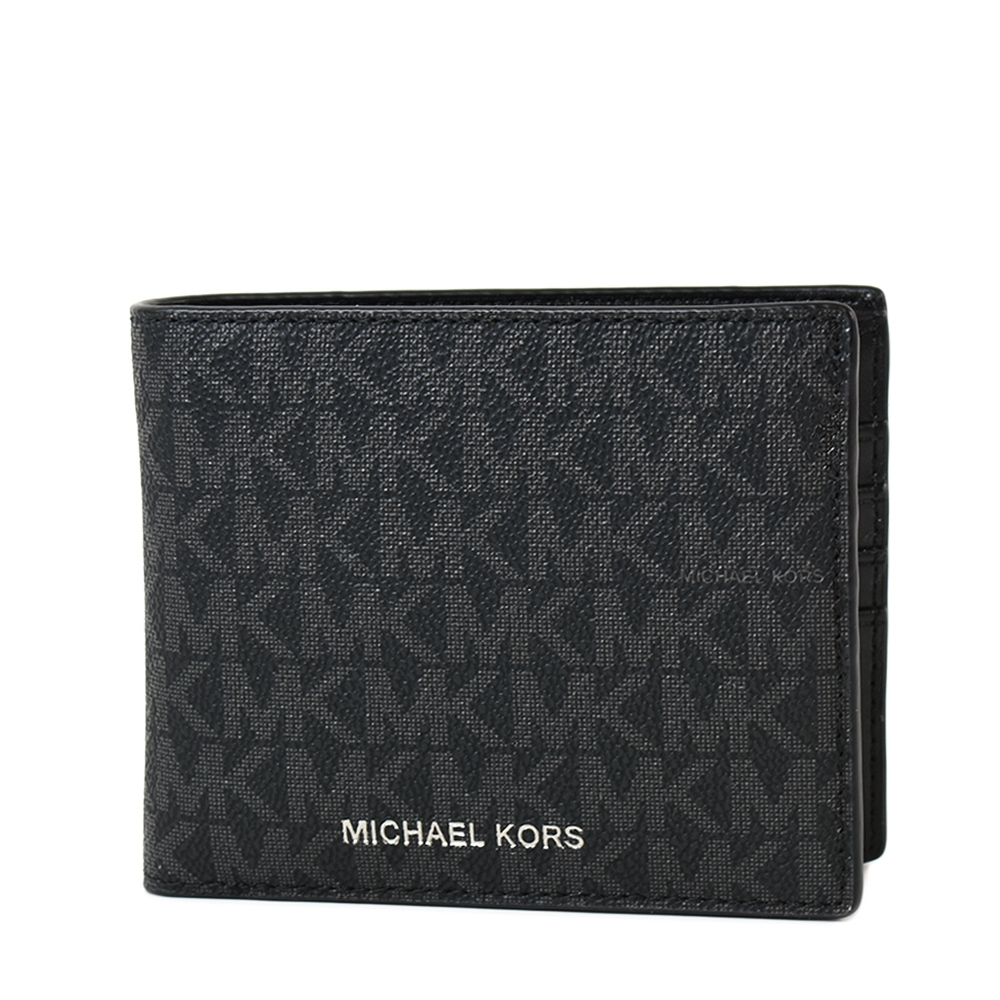 MICHAEL KORS 男款 緹花LOGO防刮皮革八卡短夾/附證件夾-黑色