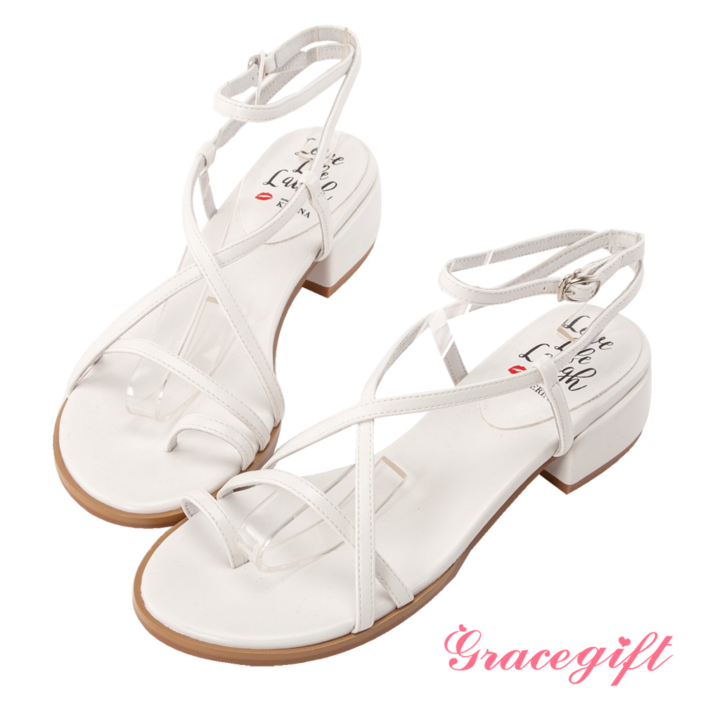 Grace gift X Kerina-聯名羅馬交叉細帶低跟涼鞋 白