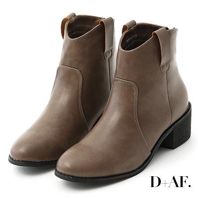 D+AF 時尚主打.素面小V口粗跟短靴*灰棕