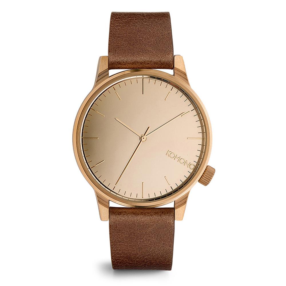 KOMONO Winston Mirror 腕錶-布朗棕x玫瑰金/41mm
