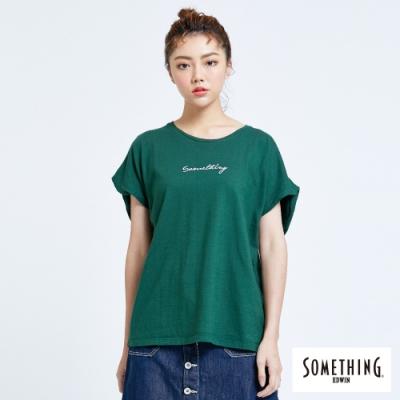 SOMETHING 簡約連袖 短袖T恤-女-深綠色