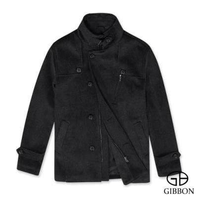 GIBBON 排扣立領羊毛大衣‧灰色