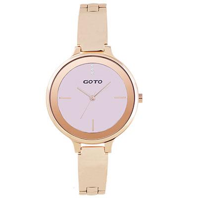 GOTO奢華簡約070系列時尚手錶-玫x粉/39mm