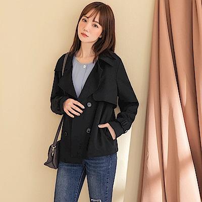 質感純色雙排釦西裝領風衣外套-OB嚴選