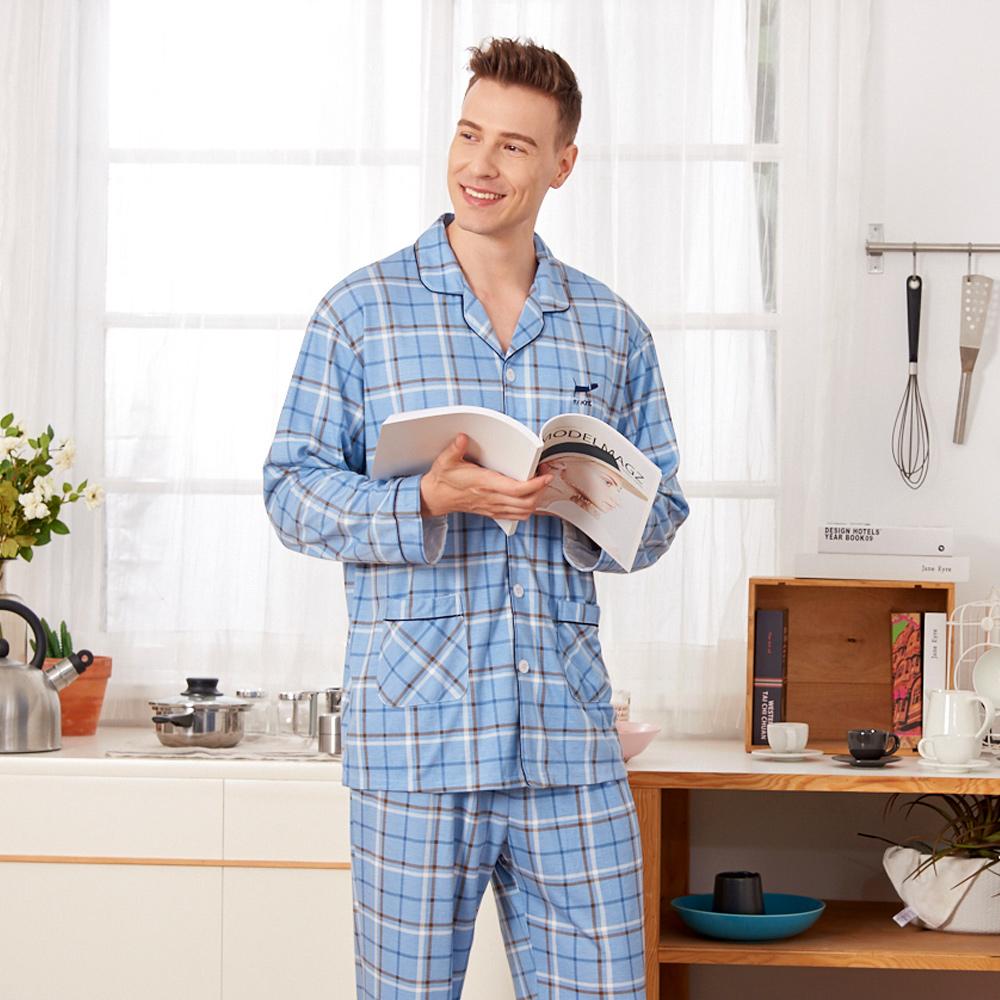 睡衣 格紋小臘腸 針織棉男性長袖兩件式睡衣(R78211-10藍色) 蕾妮塔塔 @ Y!購物