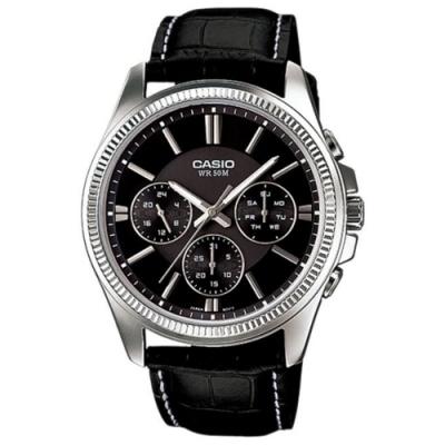 CASIO 簡約三針三眼皮帶腕錶-黑(MTP-1375L-1A)/42mm