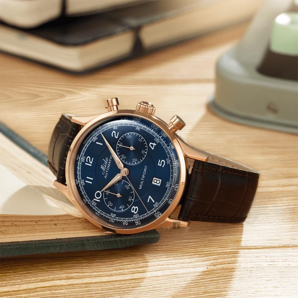 MIDO美度 Multifort Patrimony 先鋒系列復古計時機械錶-藍x咖啡/42mm M0404273604200
