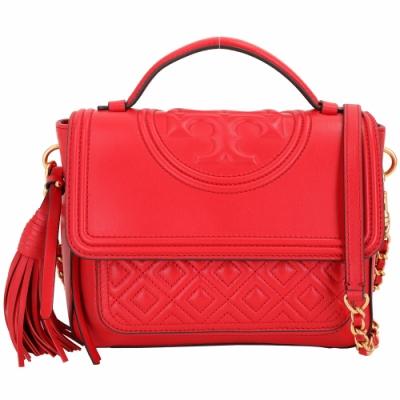 TORY BURCH Fleming 菱格絎縫流蘇飾手提肩背鍊帶包(紅色)