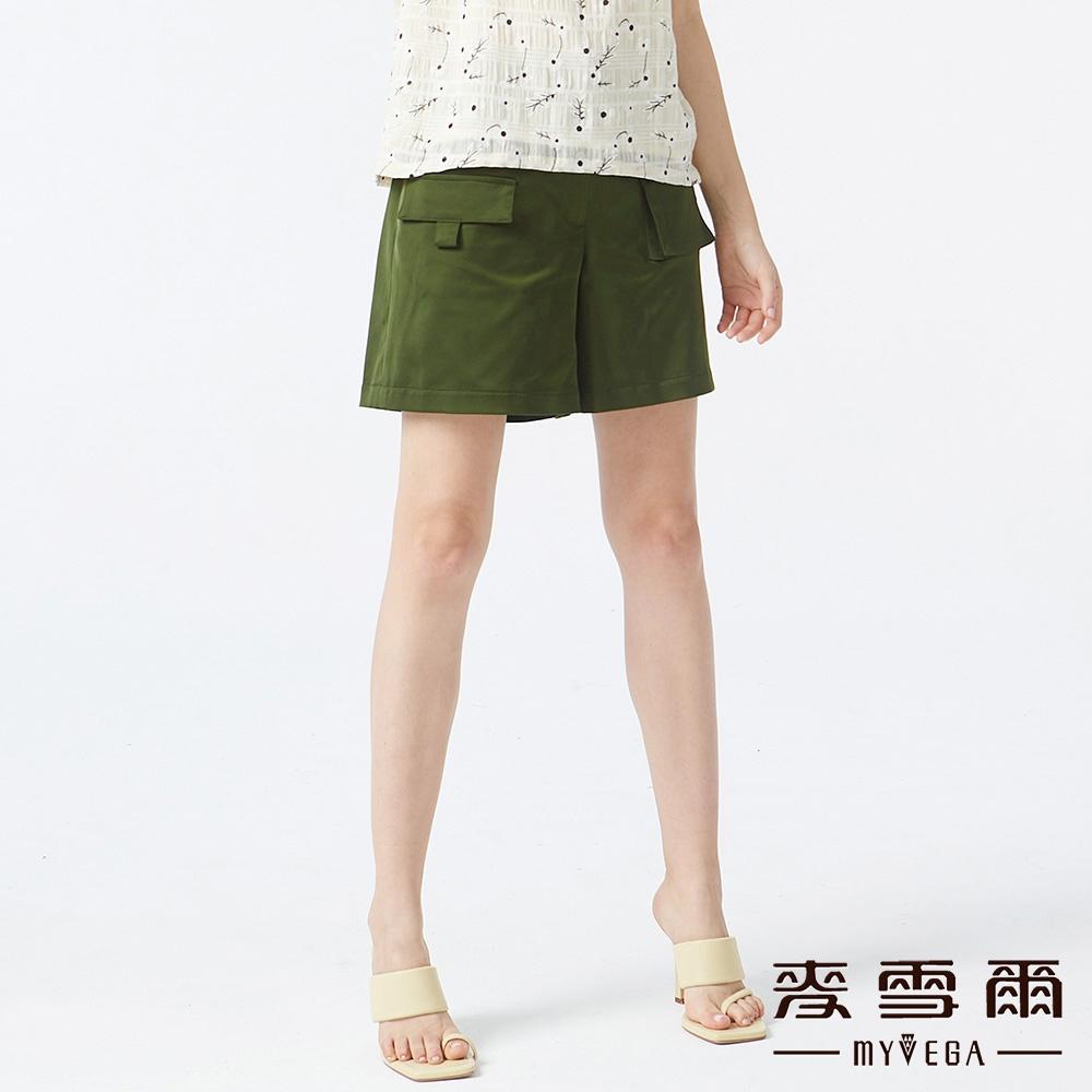 麥雪爾 不對稱口袋鬆緊腰頭短褲-綠