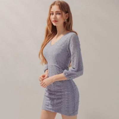 AIR SPACE V領側皺蕾絲七分袖短洋裝(藍灰)