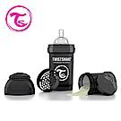 Twistshake 瑞典時尚 彩虹奶瓶/防脹氣奶瓶180ml/奶嘴口徑0.3mm-騎士黑