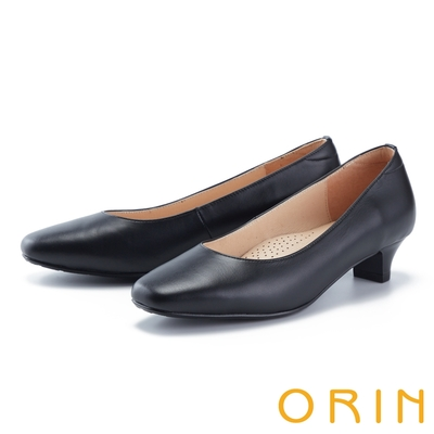ORIN 百搭素面舒適真皮 女 中跟鞋 黑色