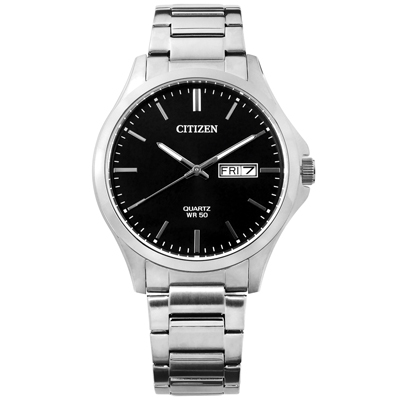 CITIZEN 簡約大方星期日期礦石強化玻璃日本機芯不鏽鋼手錶-黑色/41mm