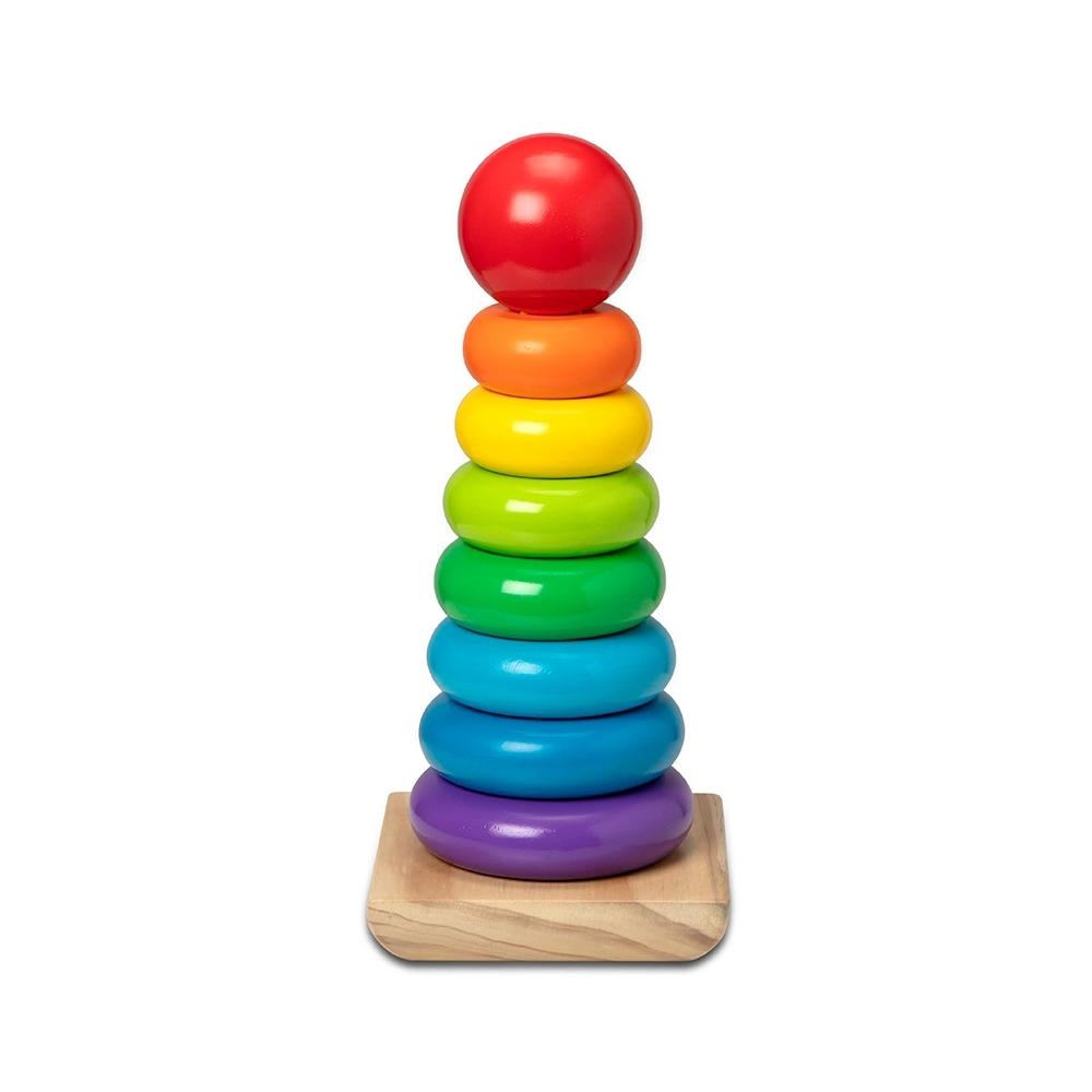 【美國瑪莉莎 Melissa & Doug 】家庭號積木堆疊組 - 彩虹