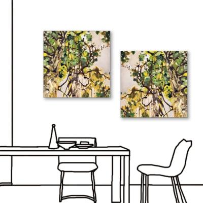 24mama掛畫-二聯式 藝術抽象 油畫風無框畫 40X40cm-夏天的午後