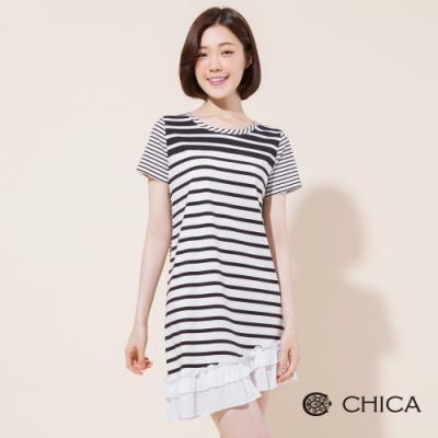 CHICA 經典不敗條紋拼接斜擺洋裝(2色)