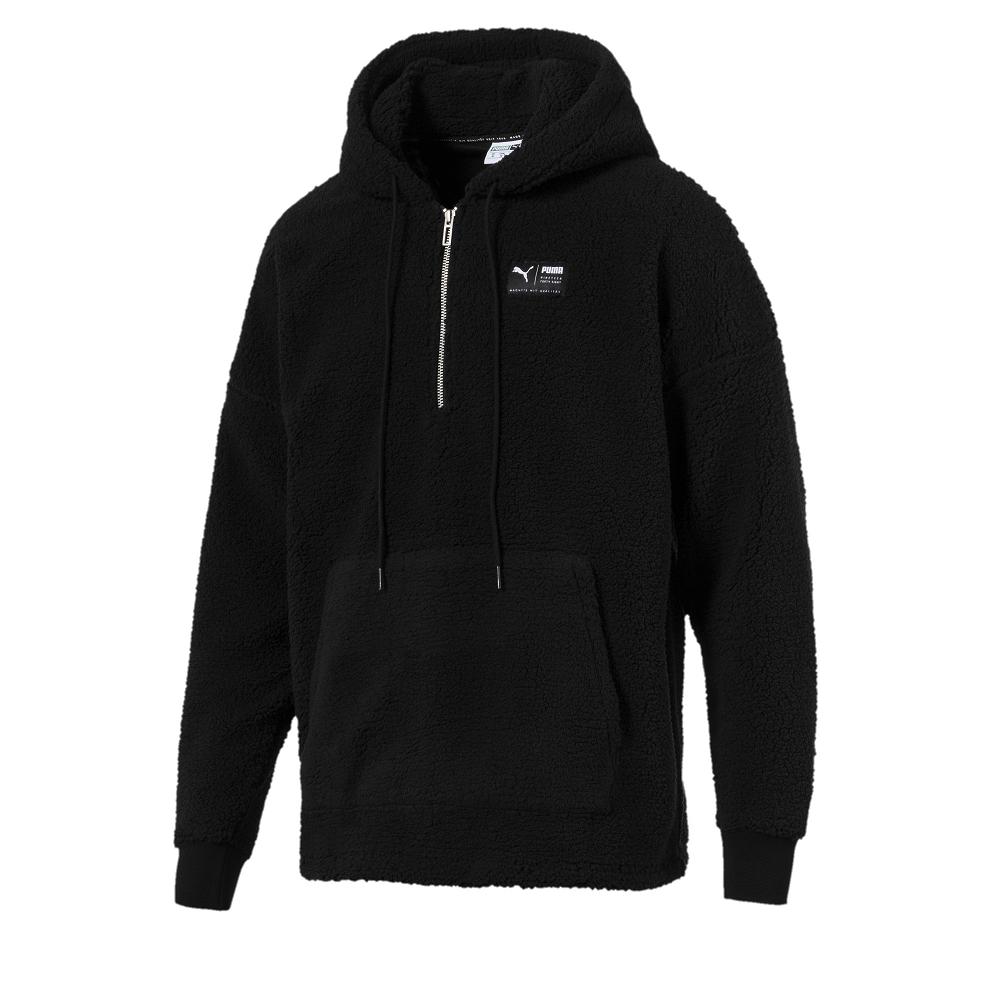 PUMA-男性流行系列Downtown毛絨長厚連帽T恤-黑色-亞規