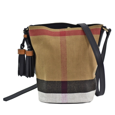BURBERRY 經典CANVAS格紋帆布牛皮飾邊手提/肩背包(小-黑色)
