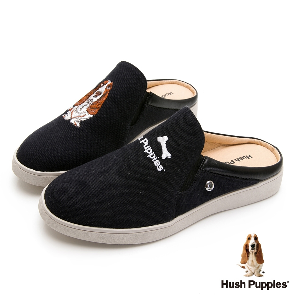 Hush Puppies 經典巴吉度穆勒鞋款-黑色