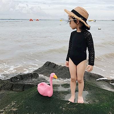 Biki比基尼妮泳衣   精靈長袖露背泳衣兒童泳衣小朋友(M-4XL)