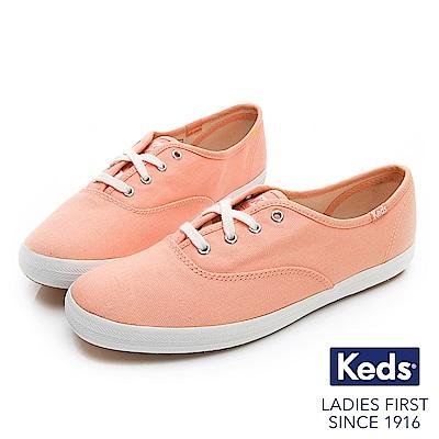 Keds CHAMPION 玩色經典綁帶休閒鞋-粉橘