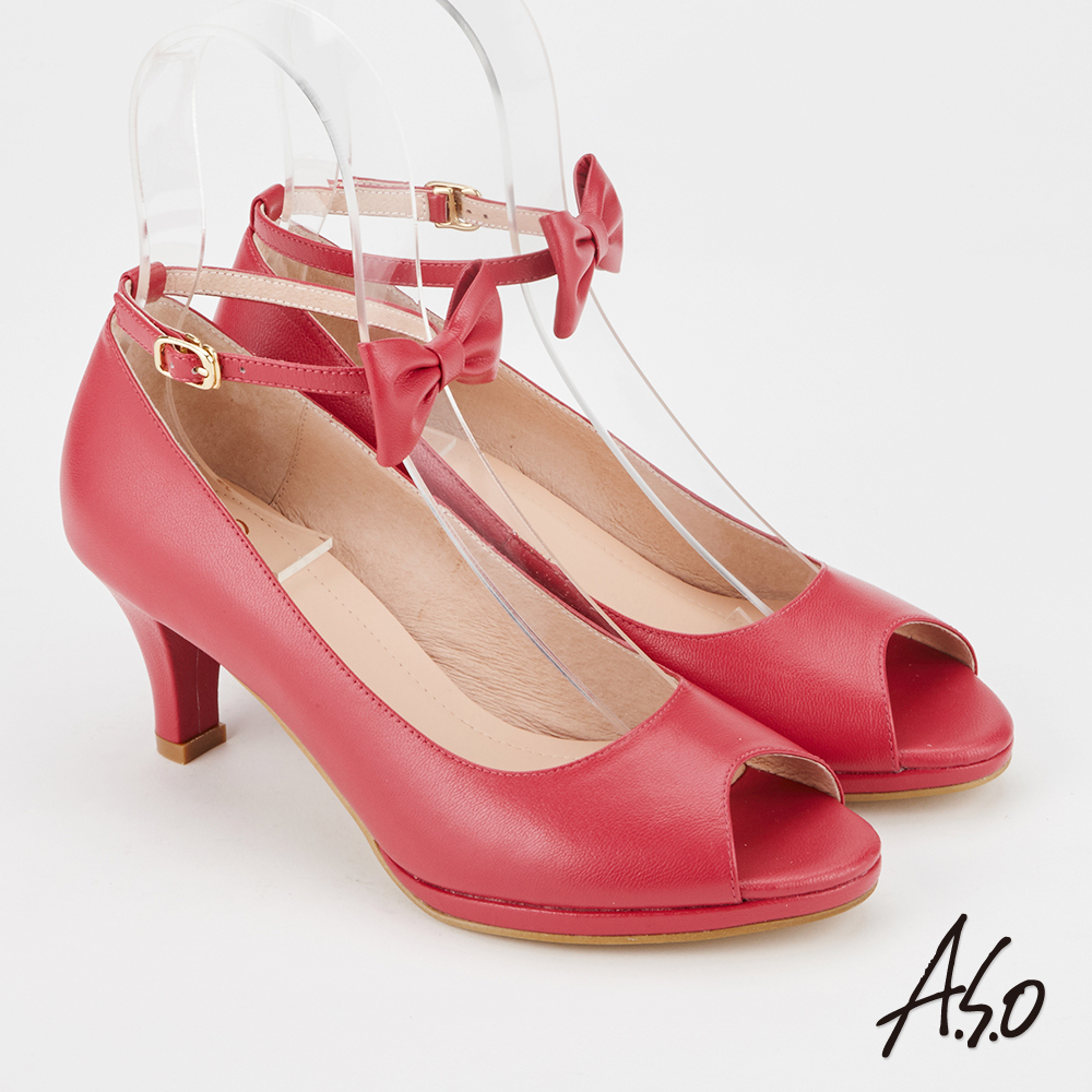 A.S.O 百變女伶  全真皮摩登蝴蝶結低跟魚口鞋粉紅