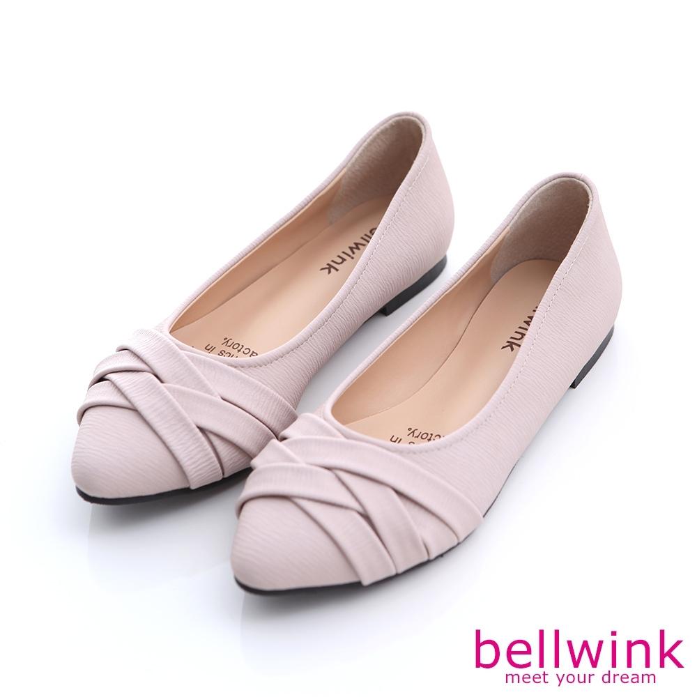 bellwink 交叉皮革尖頭平底鞋-粉色-b9806pk
