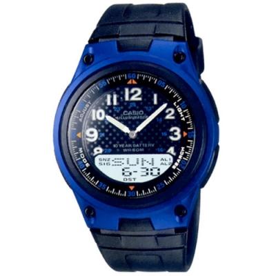 CASIO 十年電力設計簡約電子休閒錶-藍(AW-80-2A)/40mm