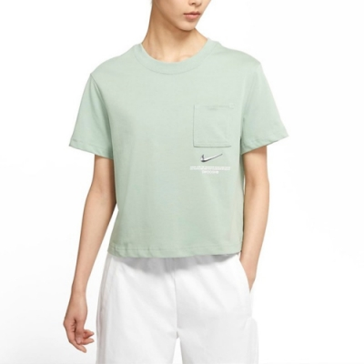 Nike NSW SWSH SS TOP 女短袖上衣 短版-綠-CZ8912006