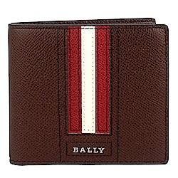 BALLY TRASAI品牌字樣經典紅白條紋咖啡色皮革短夾(8卡)