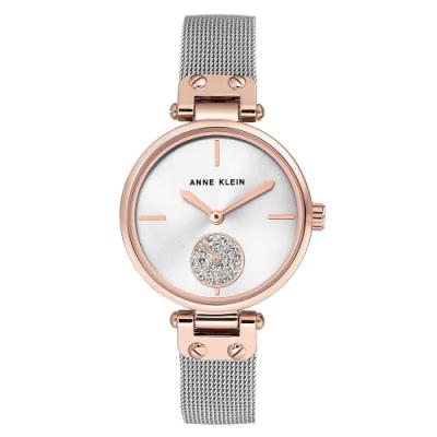 Anne Klein 典藏美學施華洛世奇水鑽小秒針絕美腕錶-銀x34mm