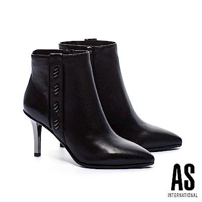 短靴 AS 奢華率性羊皮美型尖頭高跟短靴-黑