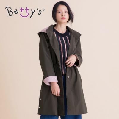 betty's貝蒂思 素面穿帶連帽風衣(深綠)