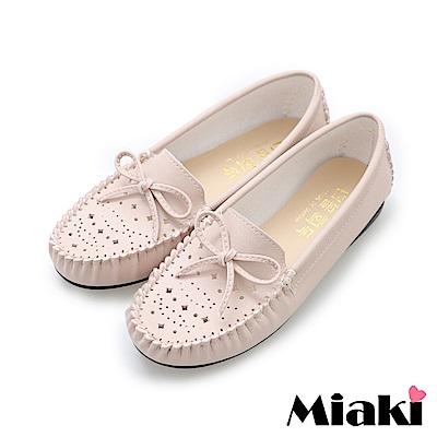 Miaki-豆豆鞋舒適好穿平底懶人鞋-粉