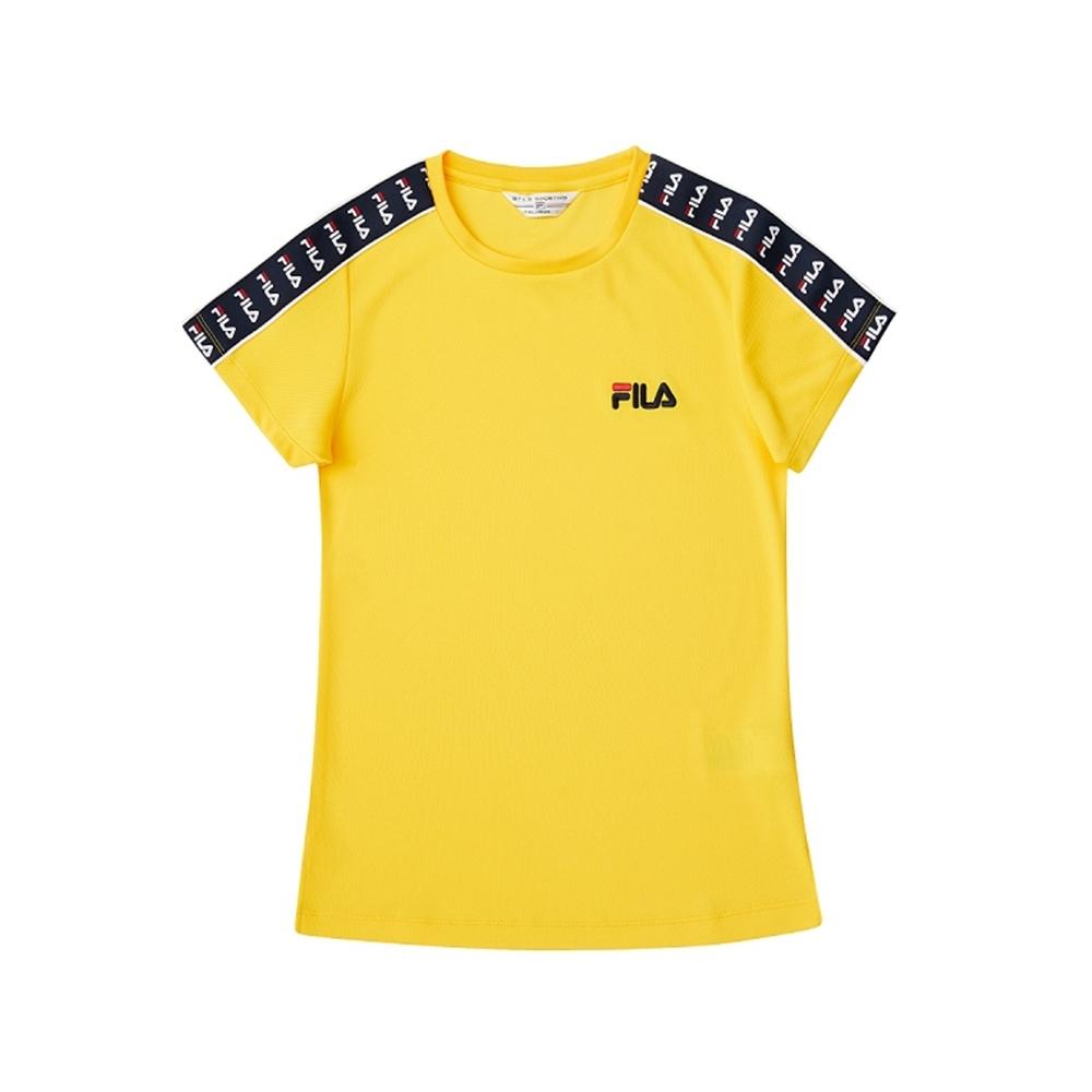 FILA 女吸濕排汗短袖圓領T恤-黃色 5TEV-1482-YE