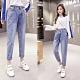 褲頭翻蓋小設計提臀牛仔直筒褲S-2XL-WHATDAY product thumbnail 1